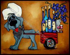 MAGGIE BRUDOS WEIMARANER wine chef blue dog by tangerinestudio, $105.00