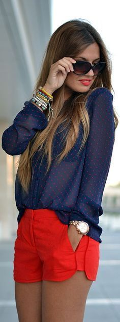Gorgeous Summer Look - sheer blue blouse + coral shorts