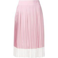 Jil Sander Navy pleated midi skirt ($656) ❤ liked on Polyvore featuring skirts, pleated midi skirt, pleated skirt, pink pleated skirt, mid-calf skirt and calf length skirts