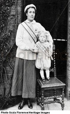 Rose Lamartine Yates wearing the suffragette uniform, with her son Paul, Surrey, c. 1910