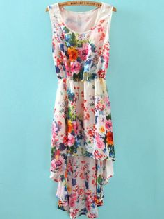White Sleeveless Floral High Low Chiffon Dress