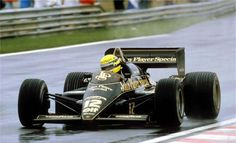 Ayrton Senna in his Lotus 97T during the 1985 GP of Portugal. Ayrton's first victory in F1