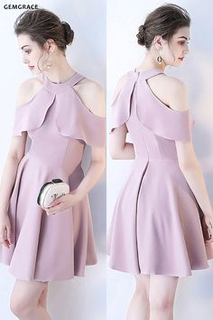 Pretty Mauve Short Homecoming Dress Cold Shoulder with Ruffles at GemG… - Herzlich willkommen Sexy Homecoming Dresses, Cocktail Bridesmaid Dresses, Cocktail Dresses With Sleeves, V Neck Cocktail Dress, Sexy Dresses, Short Dresses, Wedding Dresses, Formal Dresses, Mauve