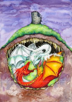 Fighting Dragons Art Print - based on welsh dragon legend of Dinas Emrys White Dragon, Red Dragon, Dragon Art, The Warlord, Welsh Dragon, Wooden Owl, Mixed Media Artwork, Coloured Pencils, Iron Age