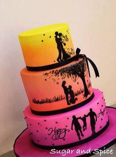 Silhouette Anniversary cake - Cake by Aarti Prasanna
