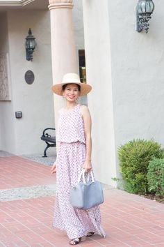 maxi dress, straw hat, lace up sandals #clubmonacco