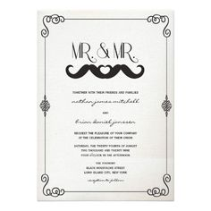 Moustache Mustache Love Classic Vintage Scrolls Old Canvas Paper Gay Wedding Invitation by fatfatin