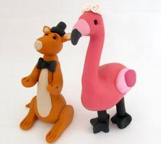 Wedding Cake Topper Flamingo and Kangaroo bride and groom