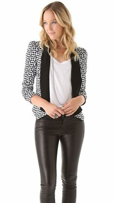 Back to Basic: The Black & White Trend for Women Part 1 http://www.toomarvelous.com/2014/02/05/basic-black-white-trend-women-part-1/  #blackandwhite #fashion #womens #womensfashion #trends #blog #style #fashionblog  Leather pants or leather-coated jeggings are big. Pull them off for spring. They're great for the transitional season. Don't be afraid to try prints. Again, avoid ones with large prints.
