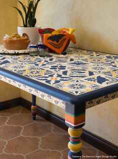 mexican tiles table furniture stencils
