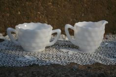 Hazel Atlas Cubist Pattern Milk Glass Cream and Sugar Set. $7.00, via Etsy.