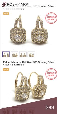 18kt gold over Sterling silver earrings with CZ 18kt gold over Sterling Silver earrings with CZ Jewelry Earrings