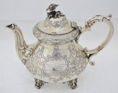 Silver teapot Maj J T Carpenter-Garnier The Scots Guards 1909 Great War Military