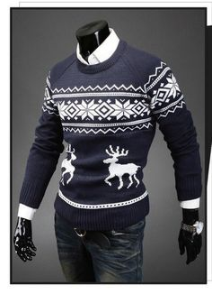 Christmas Men's Deer Pattern Crewneck Sweater Pullover Knitwear Jumper, Men Sweater, Crewneck Sweater, Outdoor Coats, Sharp Dressed Man, Cotton Pads, Hoodie Jacket, Clothing Items, Christmas Sweaters
