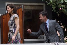 Is he swatting mosquitoes? A playful Crown Prince Frederik with Crown Princess Mary in Chile 3/12/13.