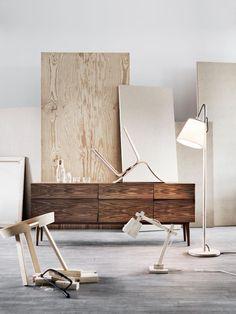 Muuto Reflect Sideboard, Around Coffee Table, Pull Floor Lamp, Wood Lamp, Visu Chair, Corky Carafe and Glasses