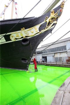 Gesamtkunstwerk – Isambard Kingdom Brunel's steamship, successfully set in 55,000 litres of lime green jelly - SS Great Britain, Bristol, May 2012 – Bompas and Parr