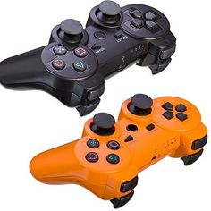 REDGO Lot 2 Wireless Bluetooth Game Controller for Sony PS3 -- Black+Orange