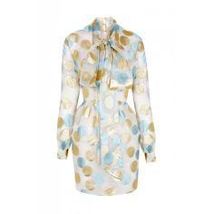 The 2nd Skin Co Metallic Polka Dot Mini Dress ($1,385) ❤ liked on Polyvore featuring dresses, white, short dresses, metallic mini dress, short white dresses, long sleeve dress and long-sleeve mini dress