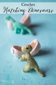 Crochet Hatching Dinosaurs - Crochet your own darling baby dinosaurs, the cutest little crochet toys for kids! They are perfect for a stocking, Easter basket or anytime your child deserves something special. Pattern includes 5 dinosaur species and 2 sizes eggs.