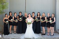 Wedding Photography- St. Louis Black bridesmaid dresses. Large bridal party. Black and white and greenery. Classy