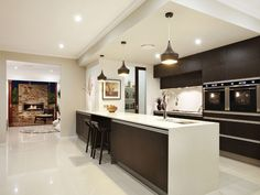 modern galley kitchen design using marble - kitchen photo 1244862