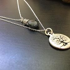 Tree of Life Necklace with Dainty stone - $18
