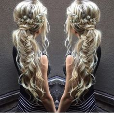 #Herringbone #hair #fish-bone # long #hair # wedding #vintage #bohemian
