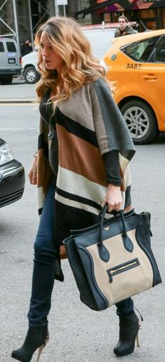 Blake Lively in awesome earth-toned poncho.