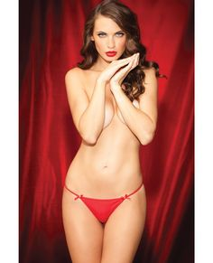 Show Girl Glamorous G-String w/Front Bows & Rhinestone Back Red MD