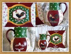 """Купить Комплект """"Деревенские мотивы"""" - комбинированный, комплект, фасад, кувшин, кувшин для воды, кувшины из глины"""
