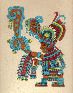 Tlaloc, With a Lightning in his Hand in a Dart Shape
