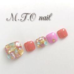 春/夏/旅行/リゾート/フット - cocoro ♡M.T.O nail♡のネイルデザイン[No.4179509] ネイルブック Feet Nail Design, Toe Nail Designs, Japanese Nail Design, Japanese Nails, Cute Toe Nails, Toe Nail Art, Acrylic Toes, Cute Pedicures, Gothic Nails