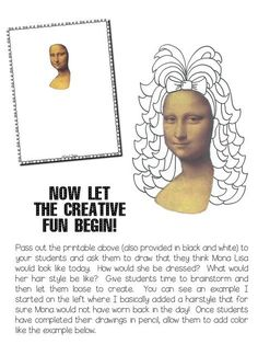 Masterpiece Monday:If Mona Lisa Were Alive Today. Sub plan for art teachers   One day art projects.