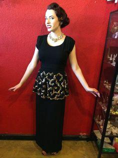 1930s 40s Black Crepe Gown Gold Sequin Peplum Film Noir Dress by THEGIRLCANTHELPITUSA on Etsy