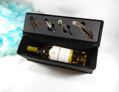 Personalized Black with Silver Leatherette Wine Box Custom