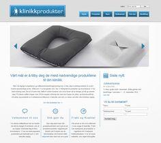 Slik ser nettsiden til Klinikkprodukter ut. De, som mange andre, har valgt å bruke Idium Web+.