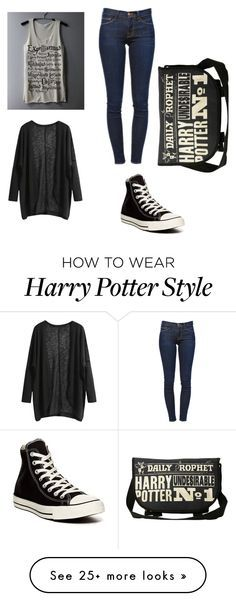 """""""Harry Potter"""" by harlequinbunny on Polyvore featuring Frame Denim and Converse"""