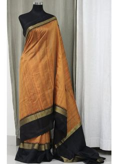 Buy Exclusive Orange and Black Pure Handloom Raw Silk Saree Online Shopping from Paarijaatham Dupion Silk Saree, Raw Silk Saree, Soft Silk Sarees, Handloom Saree, Indian Attire, Indian Wear, Indian Outfits, Indian Clothes, Formal Saree