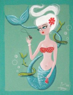 El Gato Gomez Painting Mid Century Modern 1950s Retro Mermaid Tiki Pin Up Girl | eBay