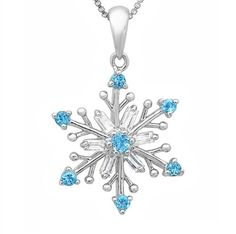 Sky Blue and White Topaz Snowflake Pendant - Necklace in Sterling Silver on an 18in. Box Chain