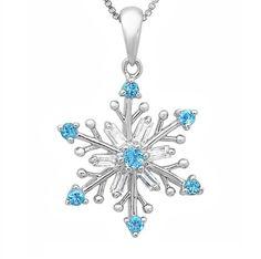 Sky Blue and White Topaz Snowflake Pe...