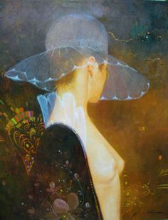 "Original Painting ""Untitled Woman With Hat 1985"" by Felix Mas"