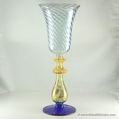 Murano Glass Museum | murano blown art-glass goblet in blue and gold💗