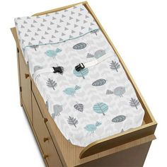 Nature Birds Arrows Baby Changing Pad Cover for Turquoise Blue and Gray Earth and Sky Collection * For more information, visit image link.