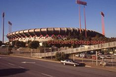 Exterior of Candlestick Park. Note the location of the Saint Francis of Assisi Statue at the center left of the stadium. Baseball Park, Giants Baseball, Francis Of Assisi, St Francis, Candlestick Park, Candlesticks, Grizzly Peak, Sports Stadium, Track And Field