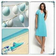 Featuring an array of printed light blues, explore new places with polka dots and tropical motifs http://www.vampfashion.com/index.php/collections/P945-ladies-nightgown-93-micro-modal-7-elastane #vampfashion #nightgown #pyjamas