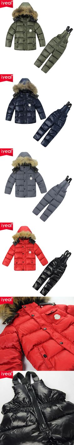 Russia Winter ! Brand 2016 Kids Clothes Boys Ski Suit Children Baby Down Jacket Coat + Jumpsuit Clothing Sets For Baby 2-6 Years