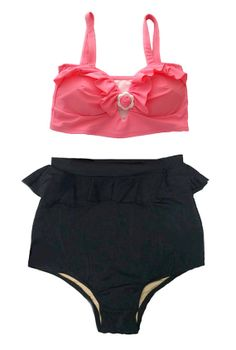 Pink Padded Top with Black Peplum Fringe High Waist by venderstore, $39.99