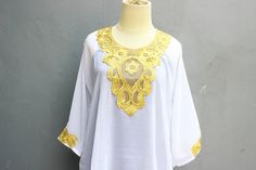 Exclusive Caftan Dress With Fancy Gold Embroidery Great for Wedding Bridesmaid Party Summer Kaftan Maxi Dress. Made From Super Chiffon Quality. Gold Embroidery, Embroidery Dress, Caftan Dress, Chiffon Dress, Kaftan Tops, Tunic Tops, Party Summer, Wedding Bridesmaids, White Tops